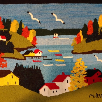 A Maud Lewis pattern by Highland Heart Hookery, hooked and photographed by Teresa Bogle, Lepreau NB,