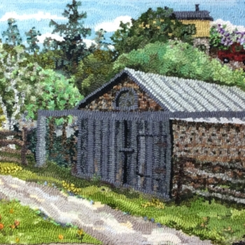 """An original design hooked and photographed by Judith Lilley, Kamouraska QC, completed in 2019, 29"""" x 15"""""""