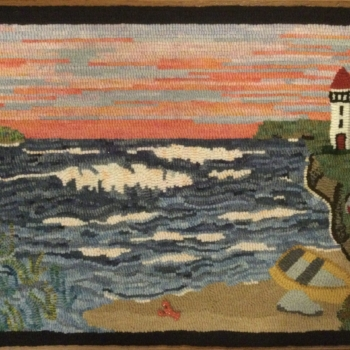 """Designed by Kay Bowman, hooked and photographed by Edwina Doucet, Halifax NS, completed in 2020, 24"""" x 15"""""""