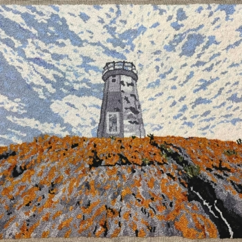 """Adapted with permission from a photograph by Robert Short, hooked and photographed by Àine Humble, Halifax NS, completed in 2020, 34"""" x 22"""""""