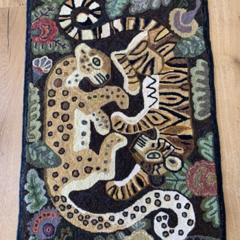 """A Joan Dennis pattern based on a design by Dahlov Ipcar, hooked and photographed by Roslyn Craig, Thornbury ON, completed in 2015, 43"""" x 27.5"""""""