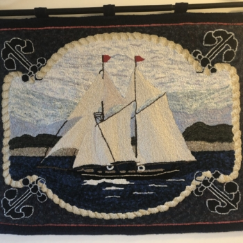 """Designed by Doris Eaton for Spruce Top Rug Hooking Studio, hooked and photographed by Edie Hagarty, Perth ON, completed in 2019, 36"""" x 27.5"""""""