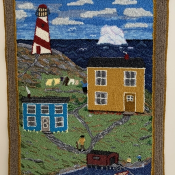 """An original design, hooked and photographed by Joan Foster, Springdale NL, completed in 2020, 22.5"""" x 30"""""""