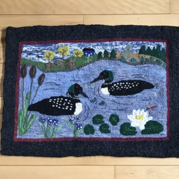 """An original design hooked and photographed by Marilyn Johnston, Shelburne NS, completed in 2021, 34"""" x 25"""""""