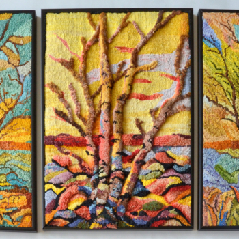 """Original designs hooked and photographed by Tatiana Knodel, Sudbury ON, completed in 2021, 16"""" x 36"""""""