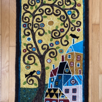"""A Karla Gerard design, hooked and photographed by <strong>Deborah Settle</strong>, Chance Harbour NS, completed in 2019, 19"""" x 32"""""""