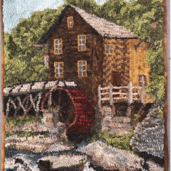 """A Laura Pierce design, hooked and photographed by Diana DeRoche, Hamilton MA, completed in 2021, 16"""" x 20"""""""
