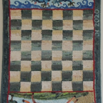 """An original design hooked and photographed by <strong>Jane Holden</strong>, Halifax NS, completed in 2020, 16.75"""" x 28"""""""