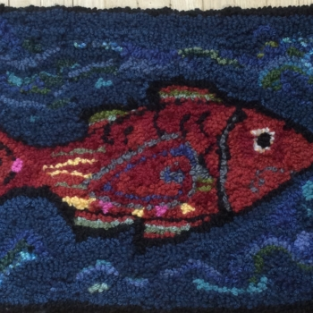 """Designed by Deanne Fitzpatrick, hooked and photographed by Paula Schwindt, Burlington ON, completed in 2021, 23"""" x 14"""""""