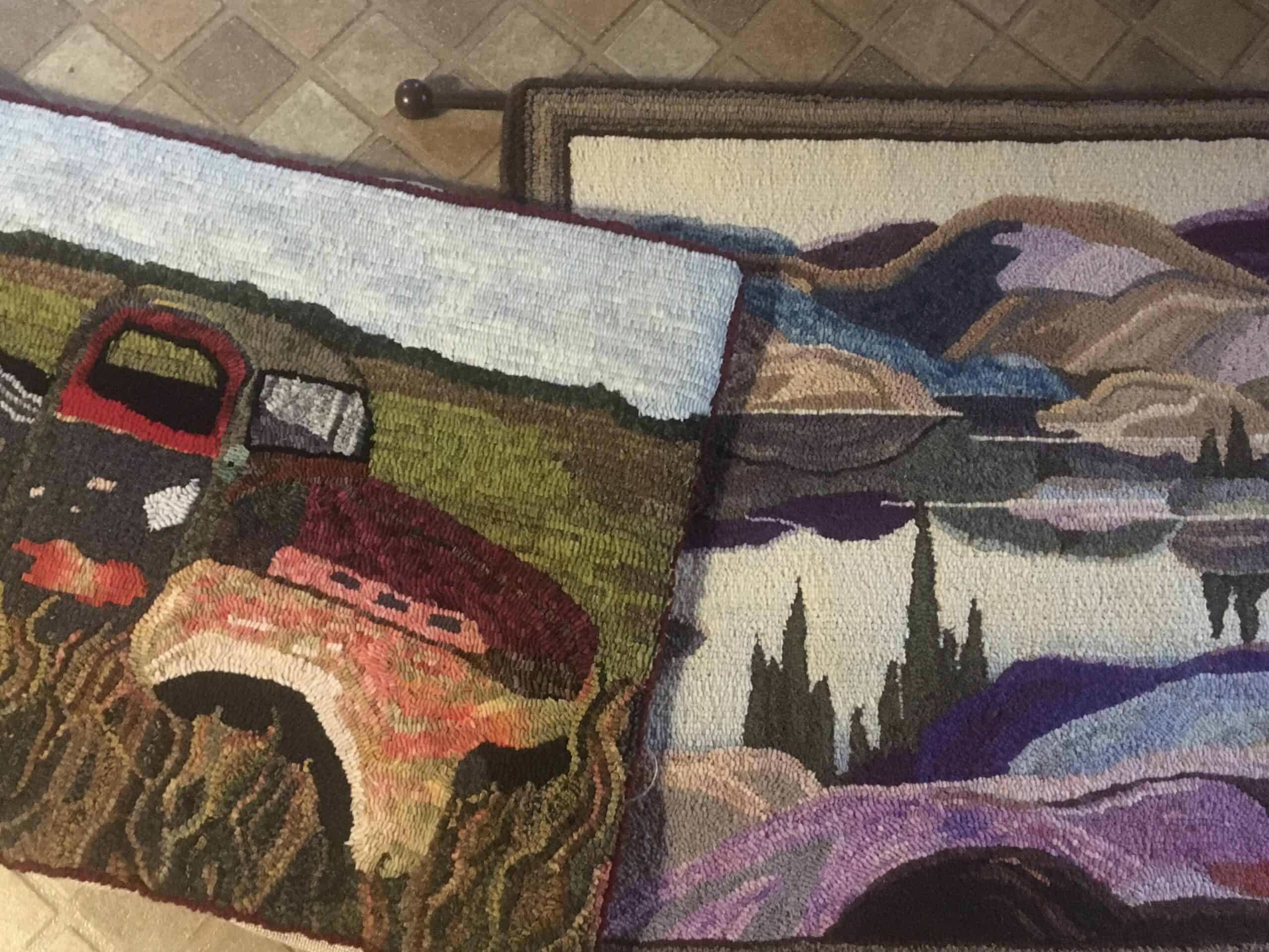 Two rugs hooked by Anne Lockhart