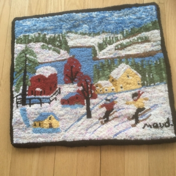 """A Maud Lewis pattern by Highland Heart Hookery, hooked and photographed by Cathy Smith, Chamcook NB, completed in 2021, 16"""" x 18"""""""