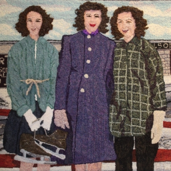 """An original design with help from Kay LeFevre from a family photo, hooked and photographed by Paula Weiss, Saint John NB, completed in 2020, 34"""" x 28"""""""