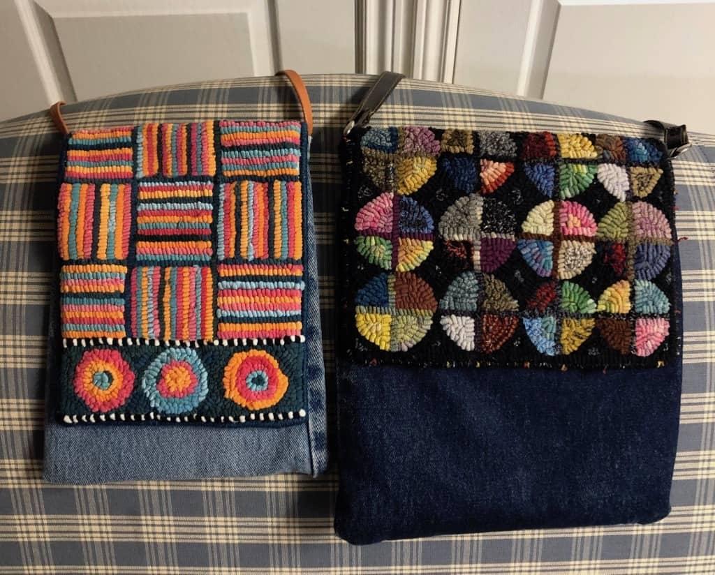 """""""Jeanius"""" Bags hooked by Wendie Scott Davis.  Photo bt Wendie Scott Davis."""