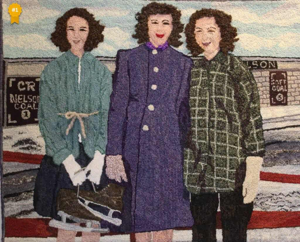 First prize in the 2021 Virtual Rug Show for Rug School, The Hatchette Girls by Paul Weiss