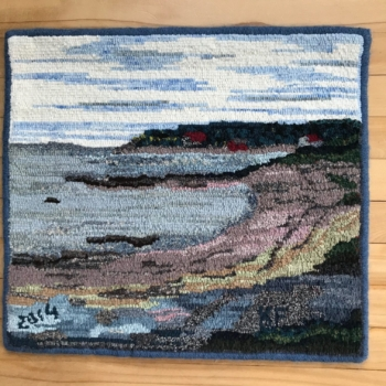 """An original design hooked and photographed by Karen Friskney, Bridgewater NS, completed in 2018, 18"""" x 20"""""""