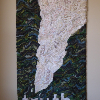 """An original design hooked and photographed by Allyson Marcolini, Halton Hills ON, completed in 2021, 20"""" x 38"""""""