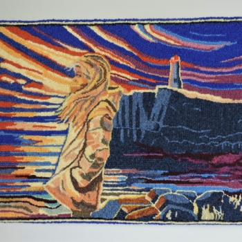 """Adapted with permission from a painting by Adam Young, NL, hooked and photographed by Kay Lewis, Ottawa ON, completed in 2020, 16.5"""" x 22"""""""