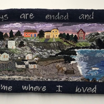 An original design, hooked and photographed by Winnie Glavine, Paradise NL, completed in 2020, 2' x 8'